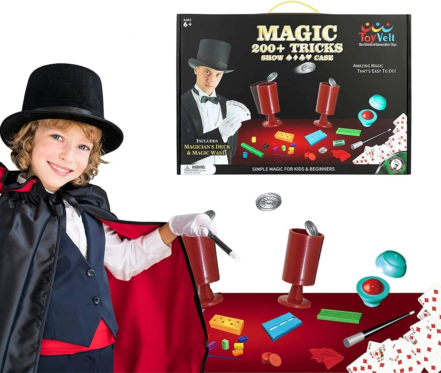 ToyVelt Magic Tricks Magic Set - Kids Magic Kit for Beginners with Over 200 Tricks and Instructions - Hours of Fun and Learning - for Boys and Girls Ages 5, 6,7 and Up: Toys & Games