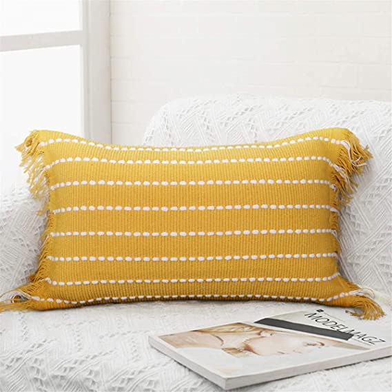 Merrycolor Comfy Lumbar Decorative Pillow Covers For Couch Sofa Bed Home Decoration Solid Woven Striped Soft Pillow Cases With Fringes Cute Modern Accent Pillowcase 12x20 Inch Yellow Home Kitchen