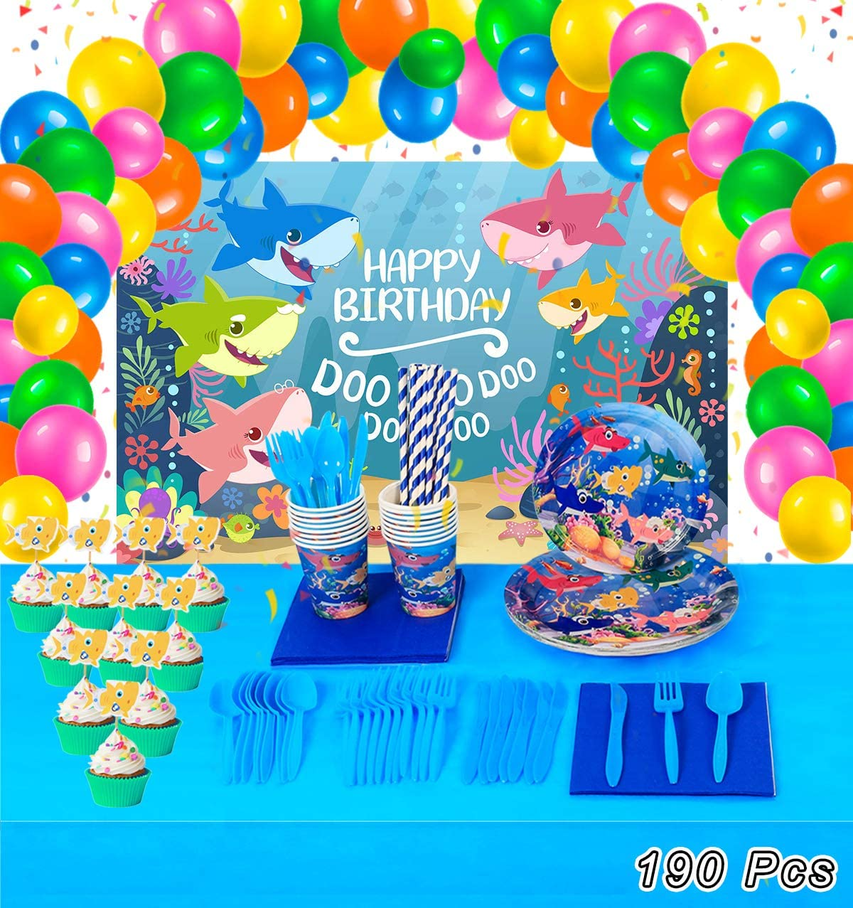 """26/"""" Helium Baby Shark Party Balloons with 5 Pcs 17/"""" Round Balloons Baby Shower Party Supplies GRAME Shark Party Supplies for Baby 10 pcs Birthday Decorations"""
