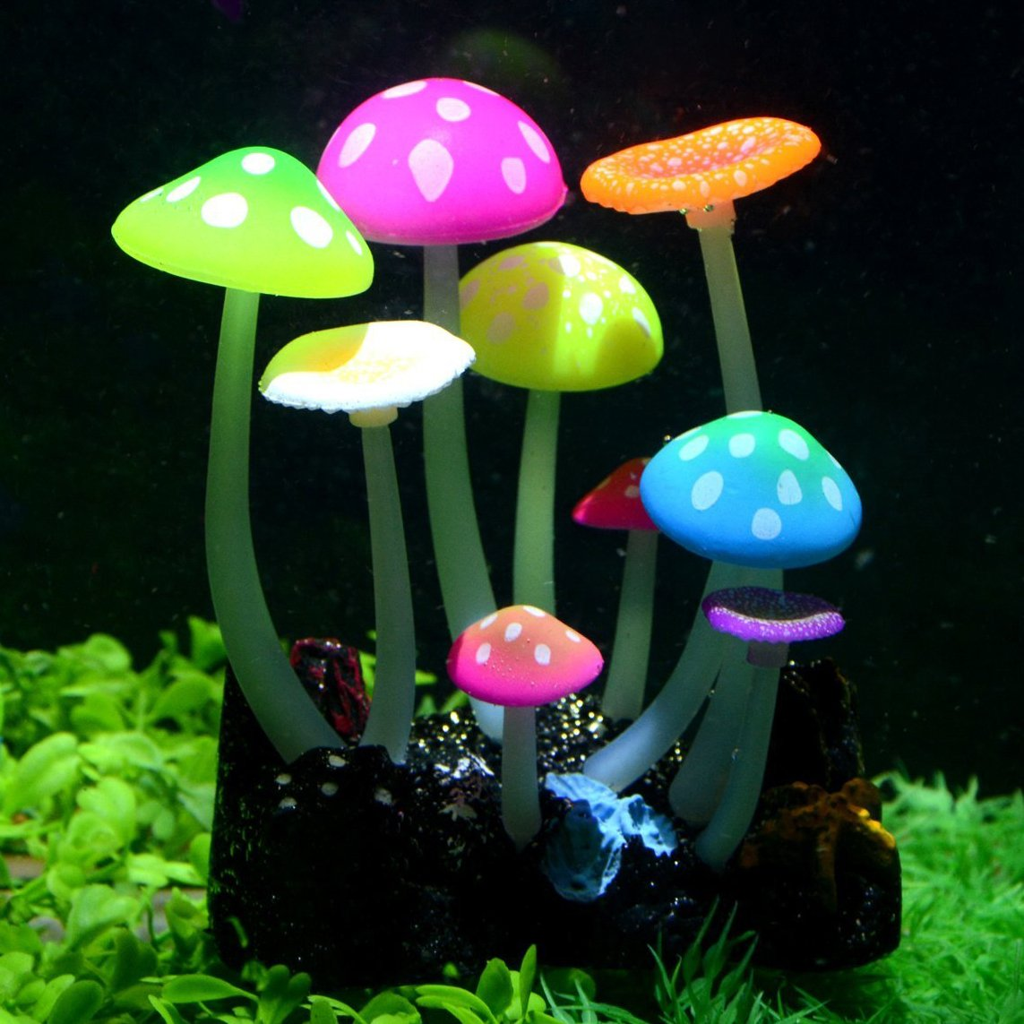 Uniclife Glowing Effect Artificial Mushroom Aquarium Plant Decor Ornament Decoration for Fish Tank Landscape