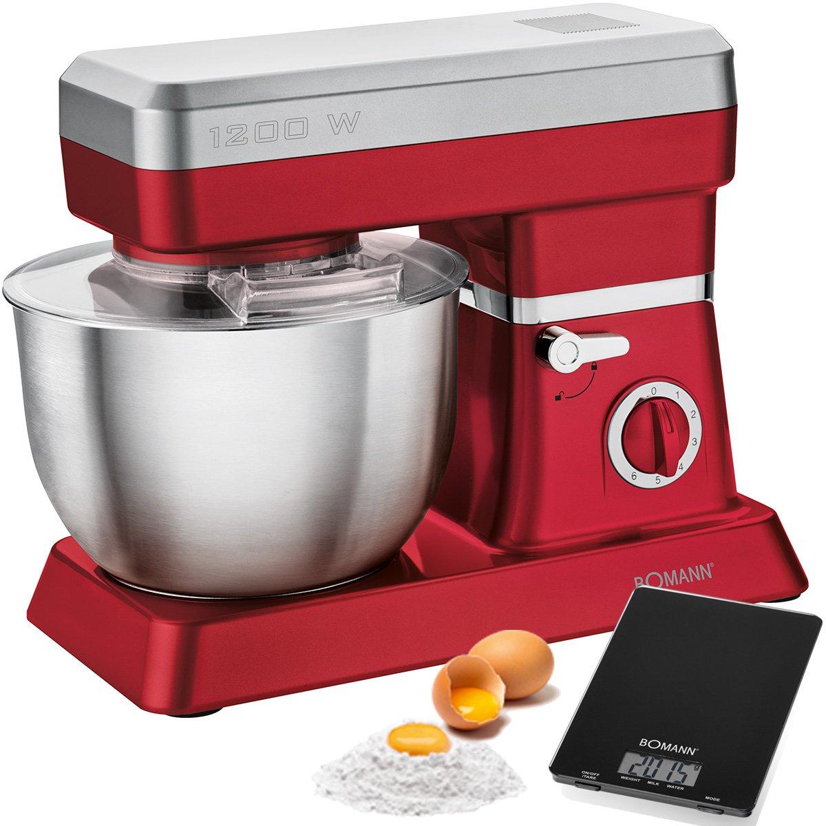 Bomann KM 398 - Batidora amasadora repostería capacidad de 6,3 litros, 8 velocidades, 1200 W color rojo + báscula cocina: Amazon.es: Hogar