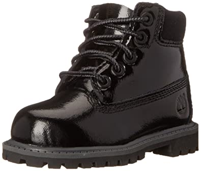 0c6210af31554 Timberland 6 Inch Premium Waterproof (Big Kids) Boots (5, Black Shine)