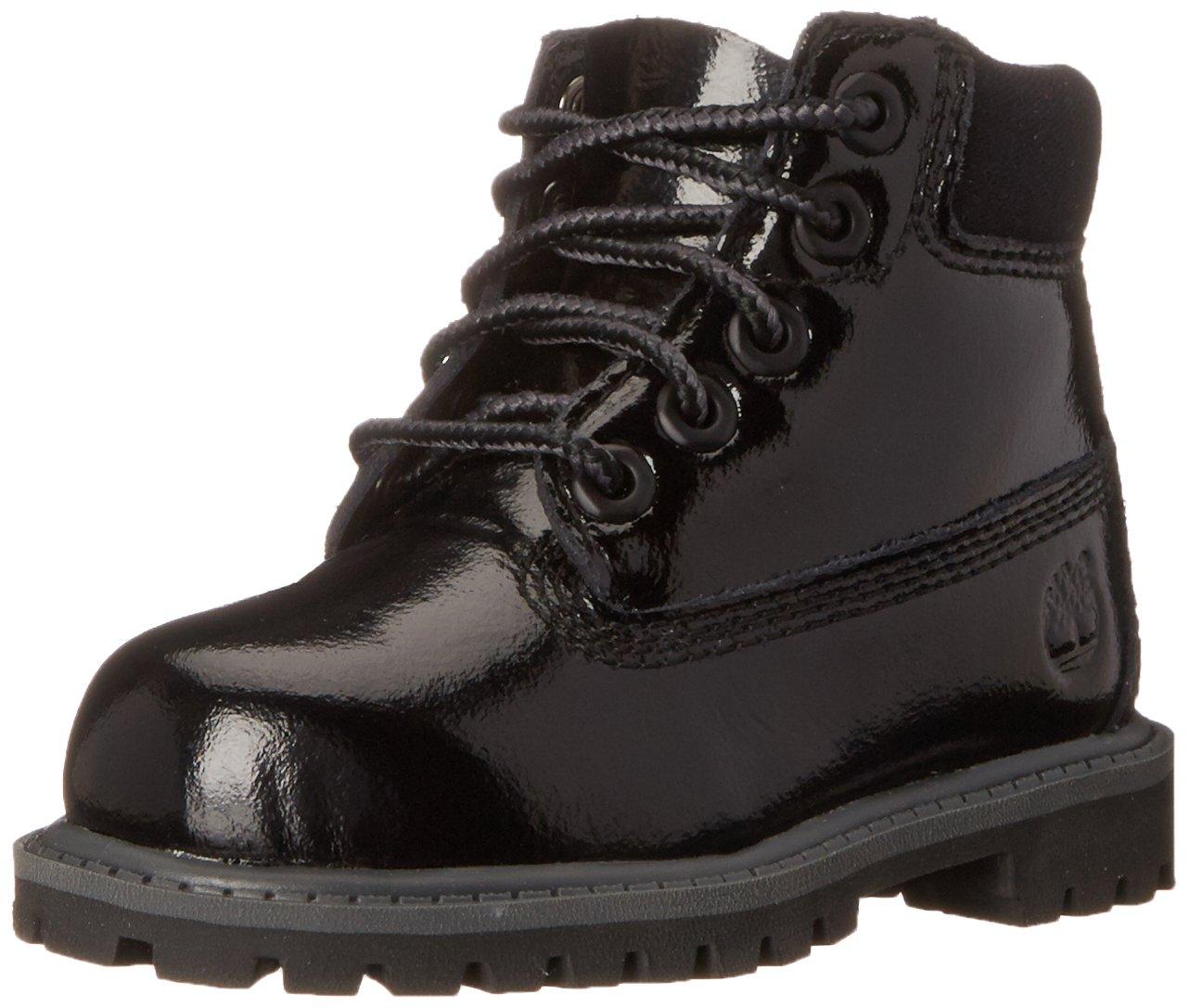Timberland 6 Inch Premium Waterproof (Big Kids) Boots (4, Black Shine)