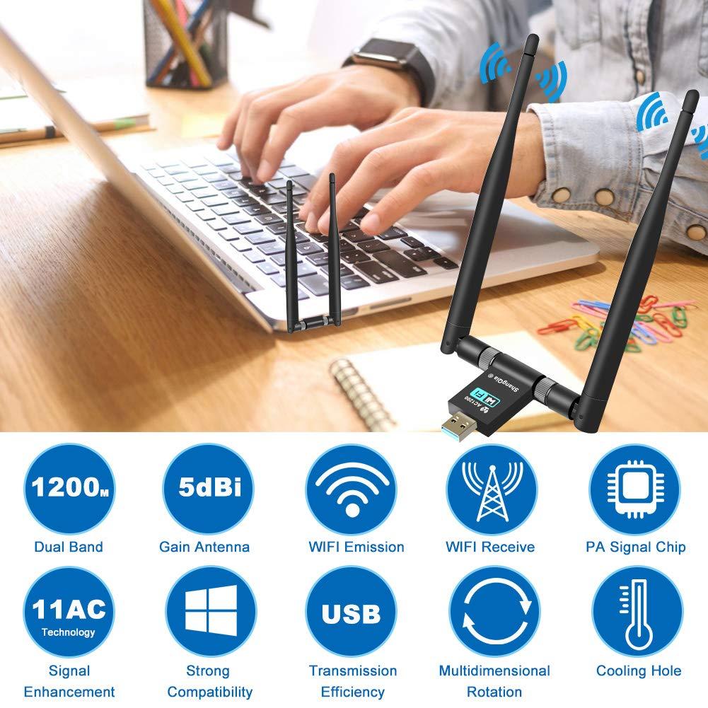 Mac OS ShangQia Antena Adaptador WiFi 1200Mpbs 2 Antenas 5dBi USB 3.0 Dual Band 2.4G 300M// 5G 867M 802.11ac Receptor WiFi para PC//Desktop//Laptop,Soporte Windows XP//Vista 7//8//10