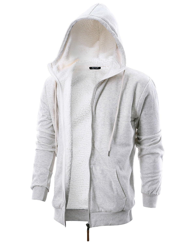 Dcf016oatmeal XLarge GIVON Mens Slim Fit Long Sleeve Thermal Faux Fur Zipup Hoodie with Kanga Pocket