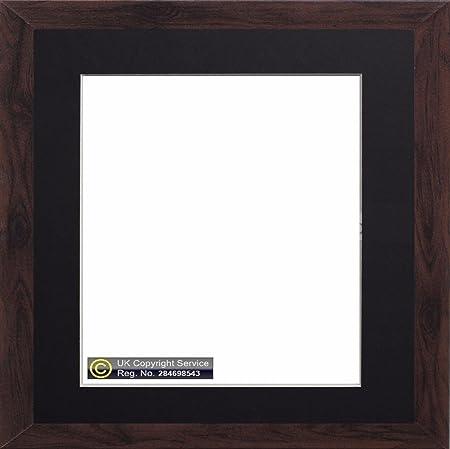 New Enem Dark Oak Square Photo Picture Frame With Mount Border White