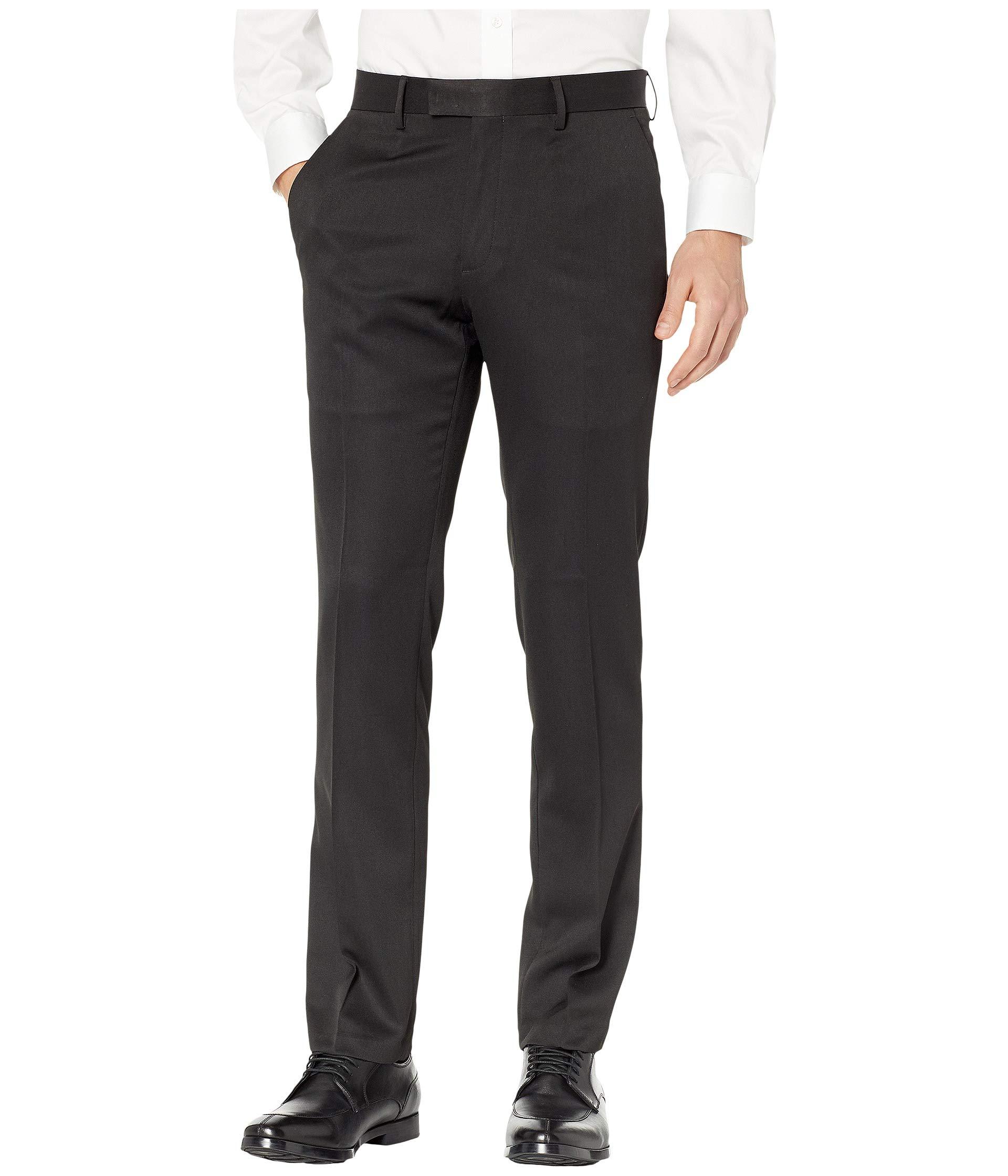 Kenneth Cole REACTION Men's Urban Heather Slim Fit Flat Front Dress Pant, Black, 28x30