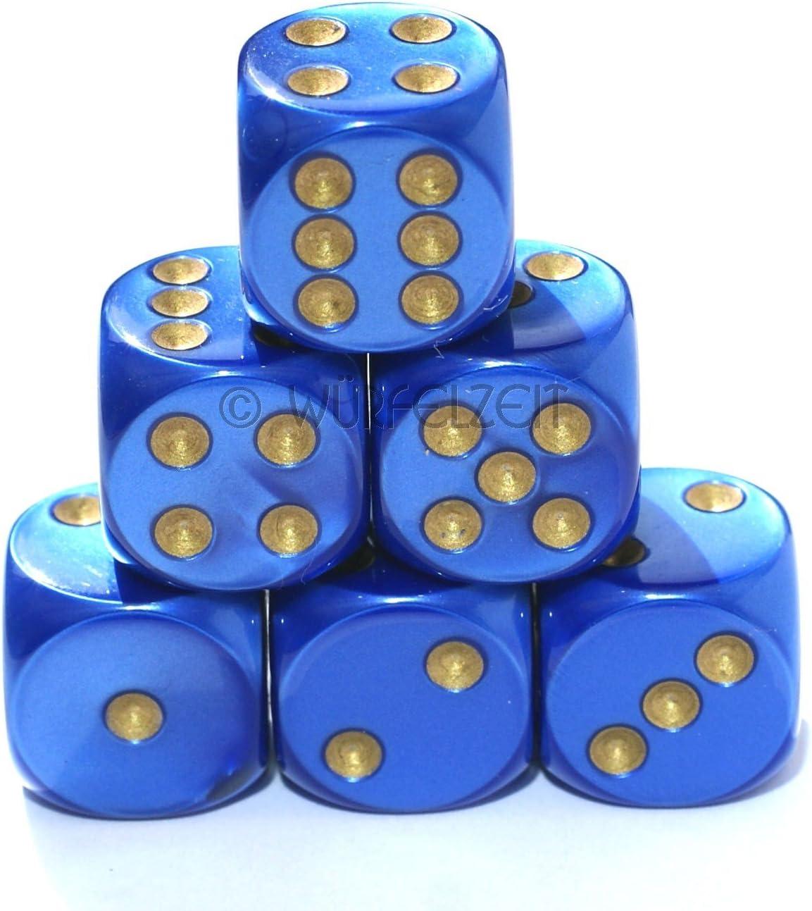 W/ürfelzeit 7453 Silkki blau m//Gold W/ürfel w6 16 mm 12er Set im Polybeutel