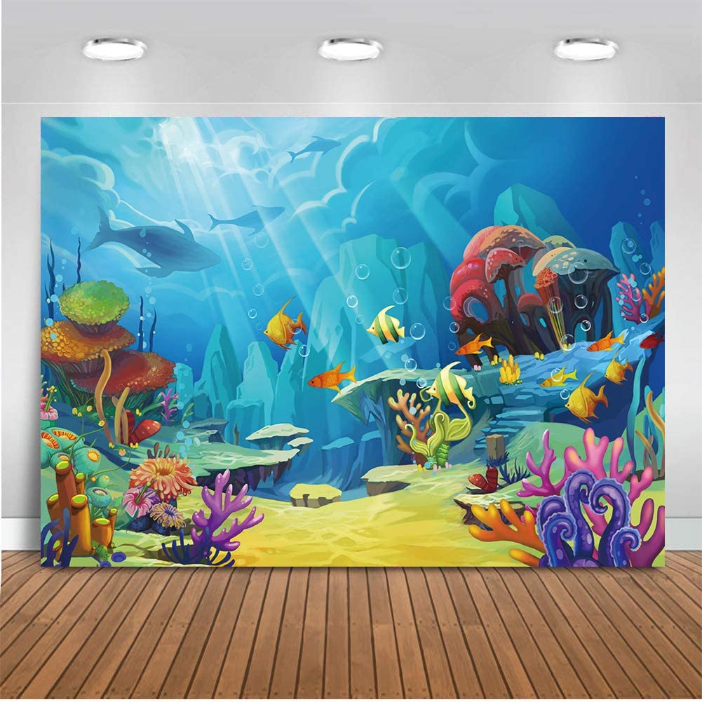 8x8FT Vinyl Wall Photography Backdrop,Mermaid,Wave with Cartoon Fish Background for Party Home Decor Outdoorsy Theme Shoot Props