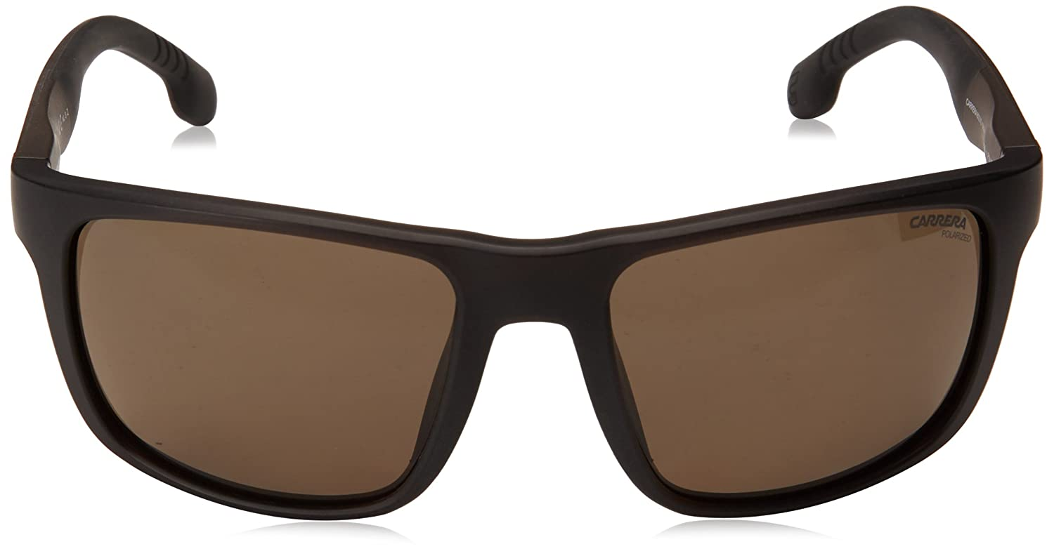 f1cef56595249 Amazon.com  Carrera Men s 8027 s Rectangular Sunglasses BLACK 57 mm   Clothing