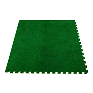 IncStores Soft Turf Tiles 3ft x 3ft x 5/8in Interlocking Anti-Fatigue Foam Tiles with Artificial Turf Surface