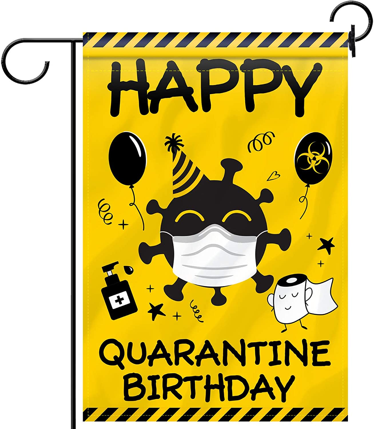 Quarantine Birthday Garden Flag Funny Double-Sided Decorative Flag with Toilet Paper Pattern Fabric House Yard Welcome Flag for Happy Quarantine Birthday Party Decoration, 12.6 x 18.5 Inch