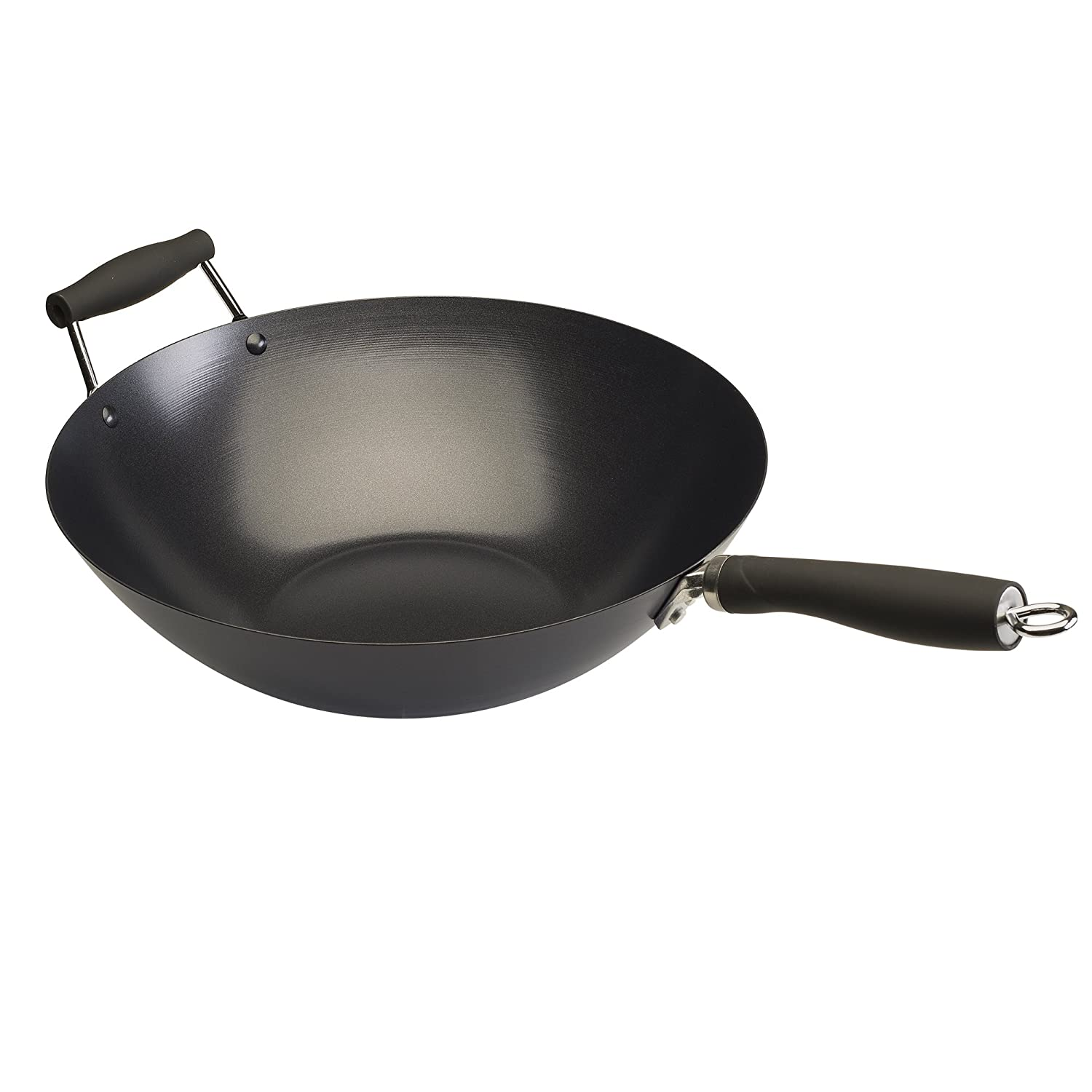 """Ecolution Non-Stick Carbon Steel Wok with Soft Touch Riveted Handles 14"""" Black Epoca Inc. EHKB-9136"""