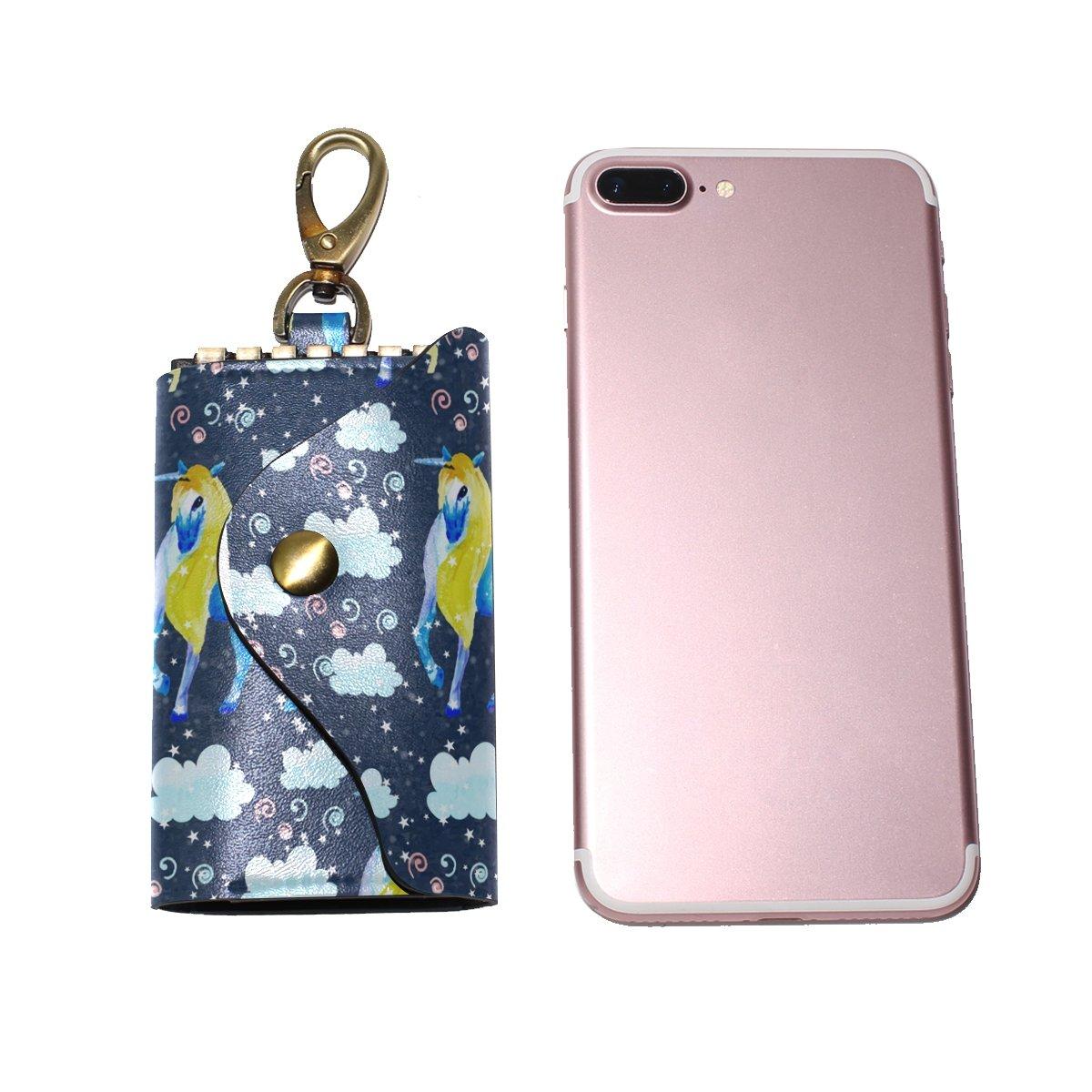 DEYYA Unicorn Seamless Print Leather Key Case Wallets Unisex Keychain Key Holder with 6 Hooks Snap Closure