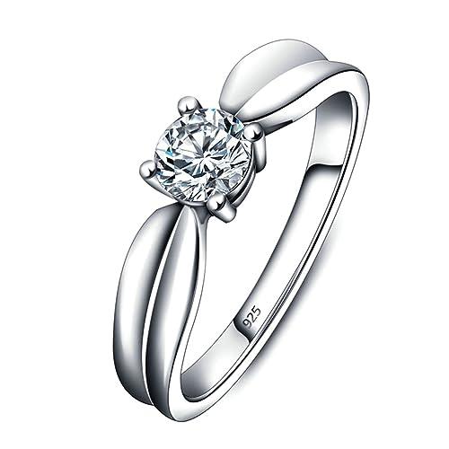 Beydodo Anillo Mujer Plata 925 anillo boda Mujer Diamante para boda anillo compromiso talla 12