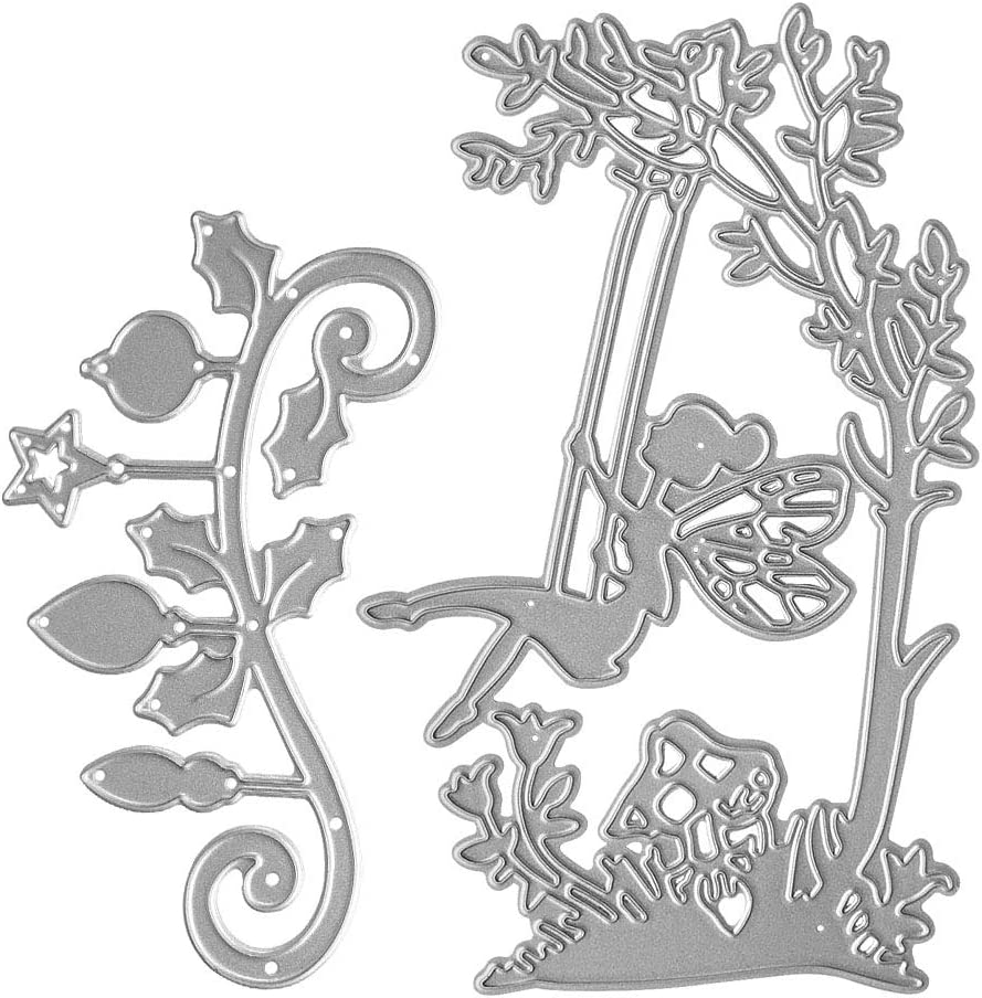Metal A Fairy On A Swing Cutting Dies, Tree Vine with Lantern Die Cuts Embossing Stencils Template Mould for Card Scrapbooking and DIY Craft Album Paper Card Decor