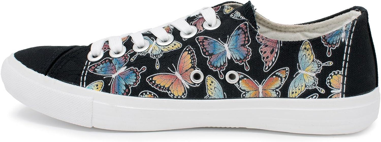 Cute Fun Pretty Butterflies Art Gym Tennis Shoe Butterfly Sneakers Ann Arbor T-shirt Co Women Men Black