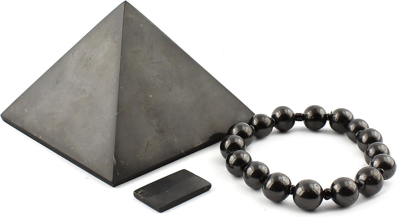 Set de Protección Shungit CEM | Pack de Piedras Shungita Sirve como Escudo Protector contra la Radiación Electromagnética | Contiene Pirámide de 8 cm, Pulsera Elástica y Placa para Teléfono Móvil