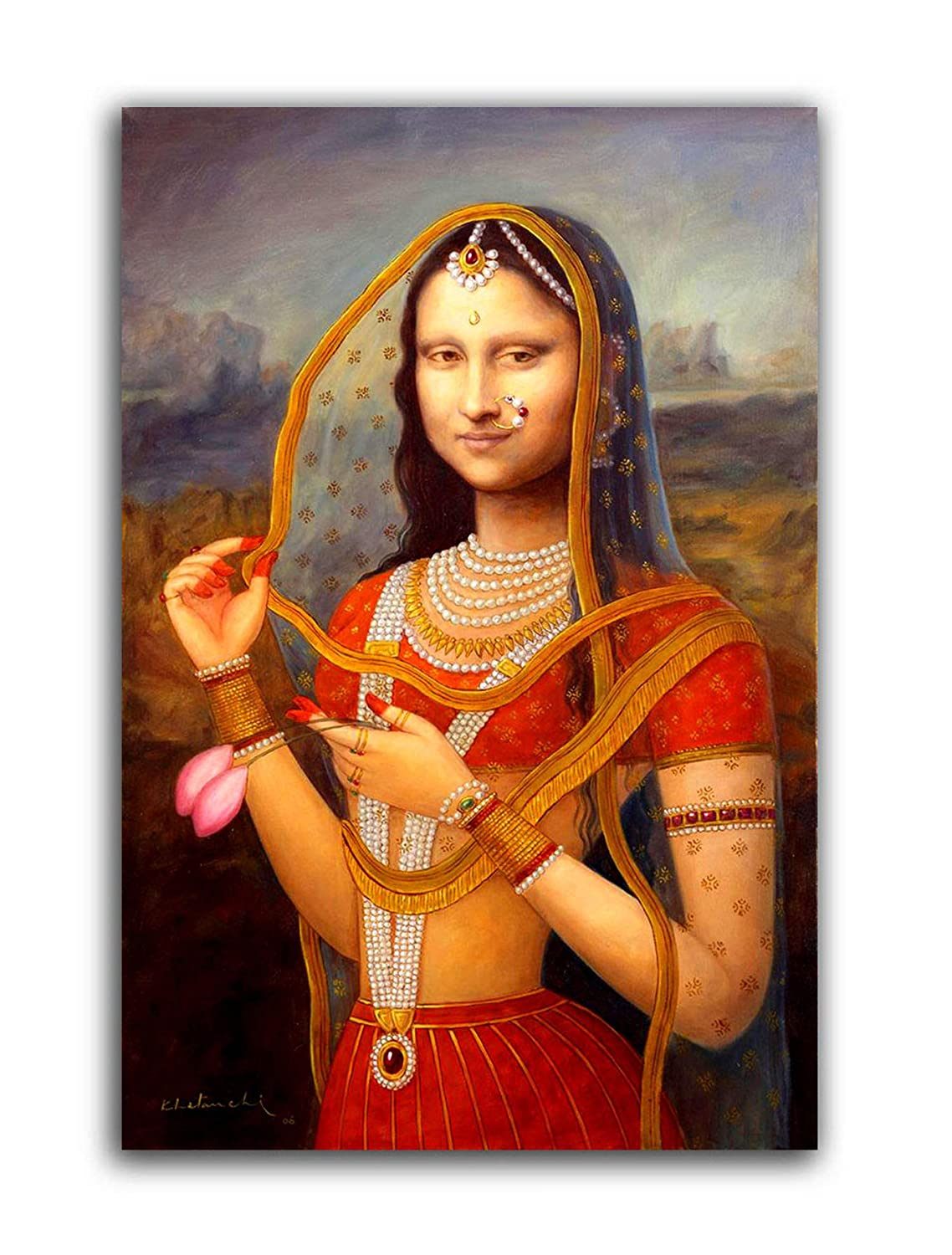 88570b0291e96 Tamatina Canvas Paintings - Indian Monalisa (Large): Amazon.in: Home ...