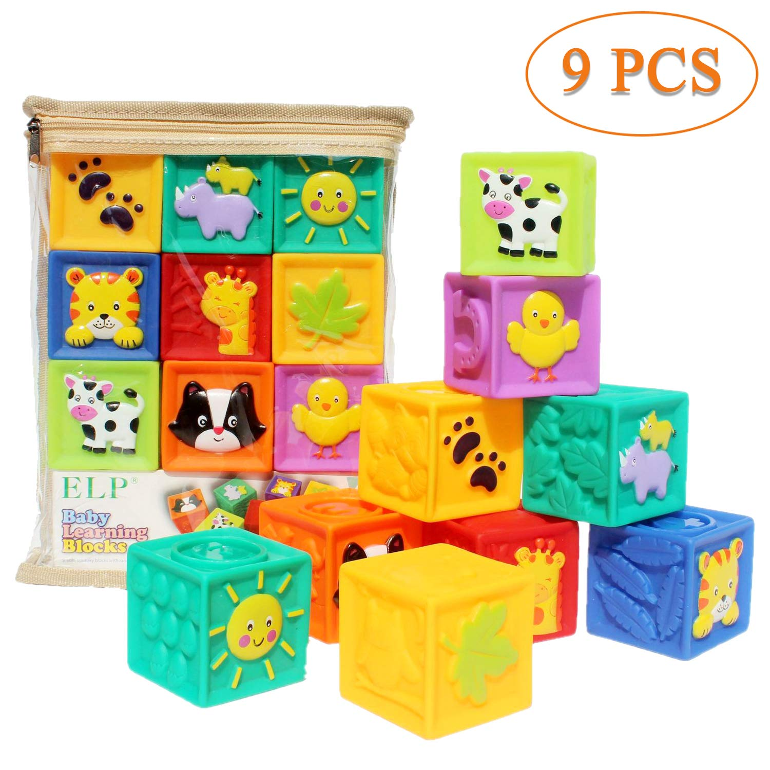 Kingtree Squeeze and Stack Block Set, Soft Building Blocks Teething Chewing Toys for Toddlers 6 months and up with Numbers & Animals BPA Free (Set of 9)
