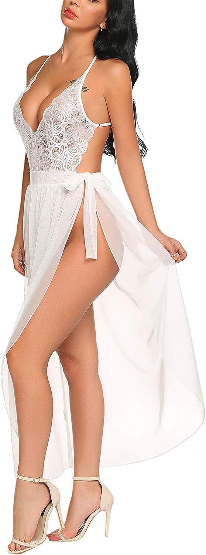 Avidlove Women One Piece Lingerie Deep V Lace Bodysuit Mosaic Lace Teddy Mesh Skirt at  Women's Clothing store