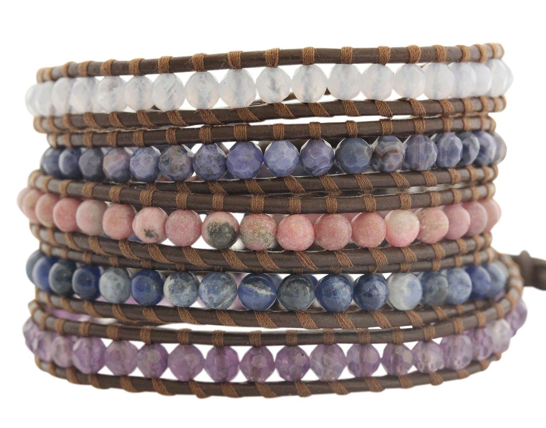 Chan Luu Purple Mix Brown Leather Wrap Bracelet bs-2213