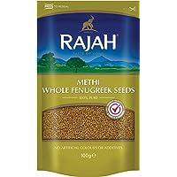 Rajah Semillas de fenogreco, enteras - Methi Whole Fenugreek Seeds - Mezcla de especias indias para numerosos platos 100…