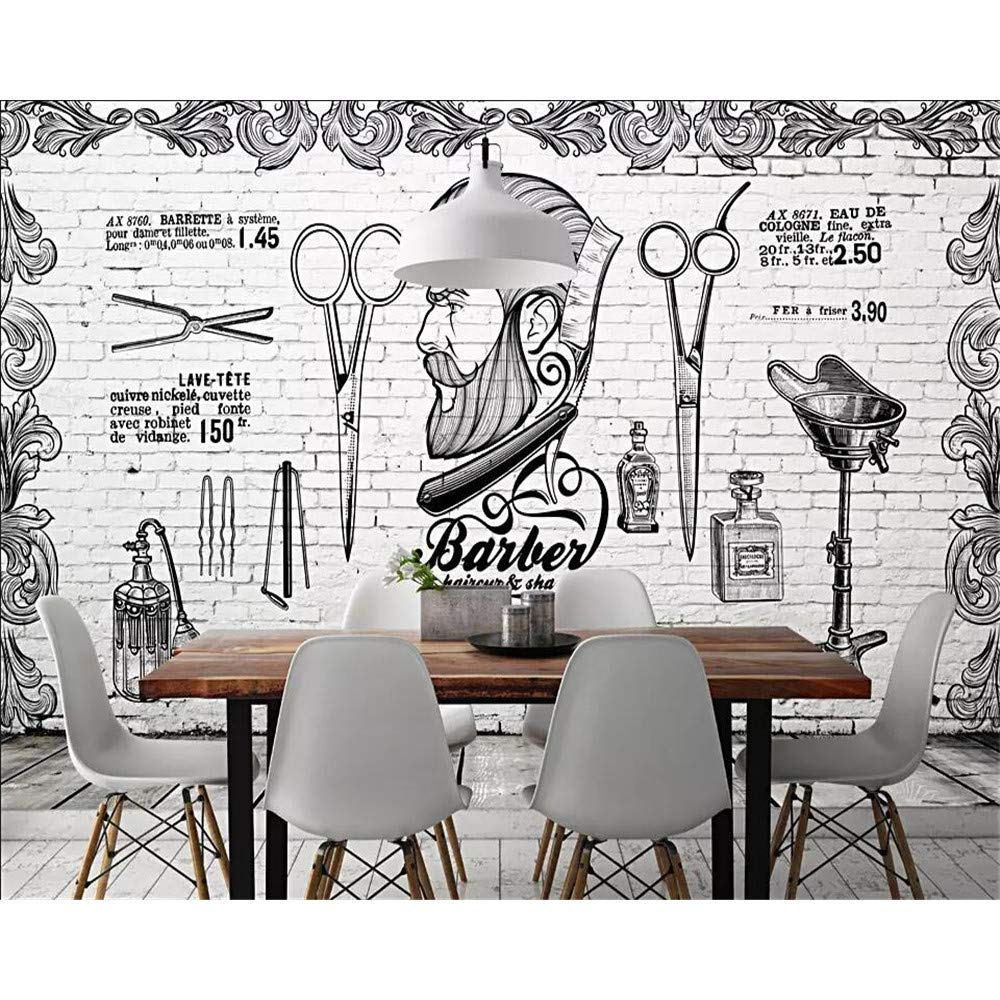 Gmyanbz Mural Wallpaper Retro Trend Barber Shop Background