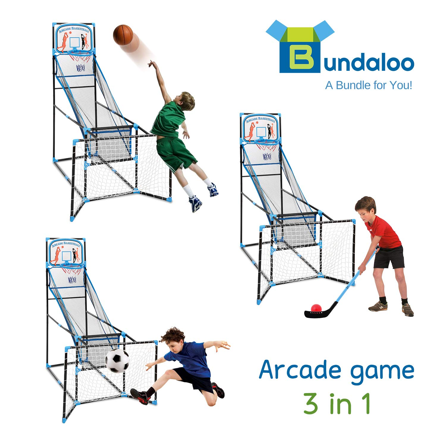 Bundaloo 3 in 1 Arcade Game | Basketball, Soccer, and Hockey Kids Toys | Fun Outdoor and Indoor Ball Games for Boys, Girls, Toddler | Includes 3 Balls, Backboard Hoop, Net Goal, Stick, and Air Pump by Bundaloo (Image #3)