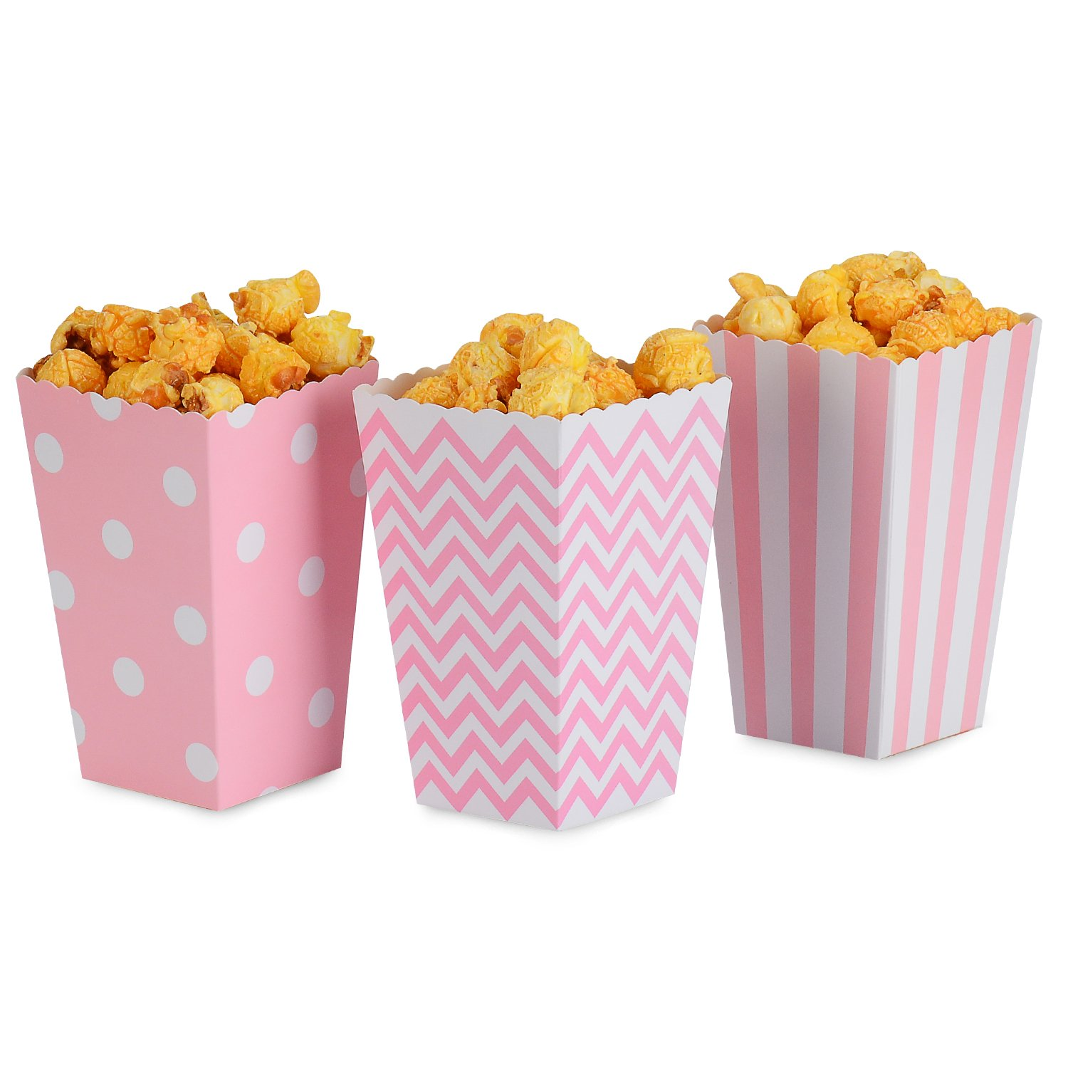 NUIBY Popcorn Boxes, Pink Trio (36 Pack) Polka Dot, Chevron, Stripe Treat Boxes - Small Movie Theater Popcorn Paper Bags for Dessert Tables & Wedding Favors