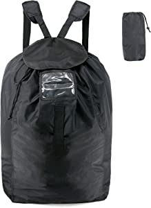 BeeGreen Laundry Backpack with Drawstring Storage Pouch Shoulder Straps Heavy Duty Laundry Bag XLarge Polyester with Handle Portable to Hold More Loads of Laundry for Men Women Black