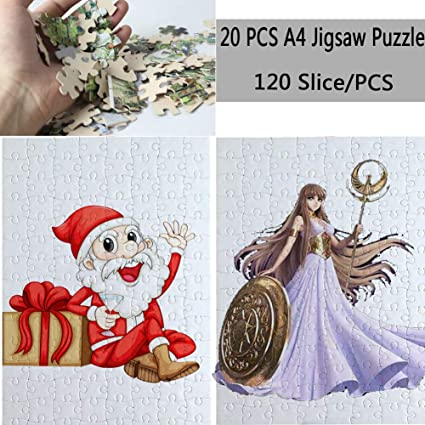 Blank Jigsaw DIY Custom Jigsaw Puzzle 80-Pieces Heat Sublimation Blanks Per Package 7.5X9.4 for Sublimation Blanks 10 Pcs Heat Press Blanks Make Your Own Sublimation Jigsaw Puzzle