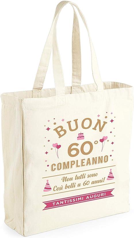 Tela di Cotone 42 x 39 x 13 cm Invent Print Donna per 60/° Compleanno Divertente Borsa Shopper Regalo Neutro Design