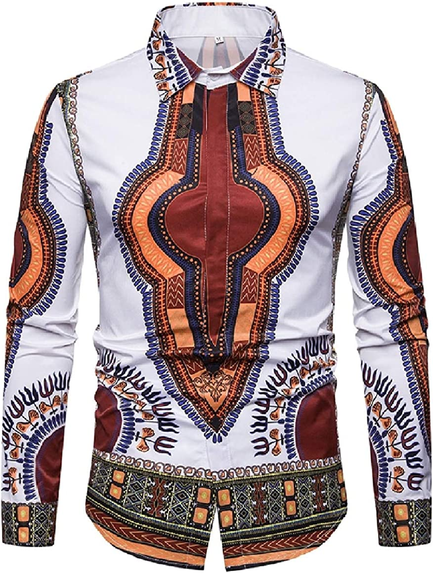 SportsX Men 3D Digital Printed African Button Down Standard-fit Long Sleeve Dress Shirts