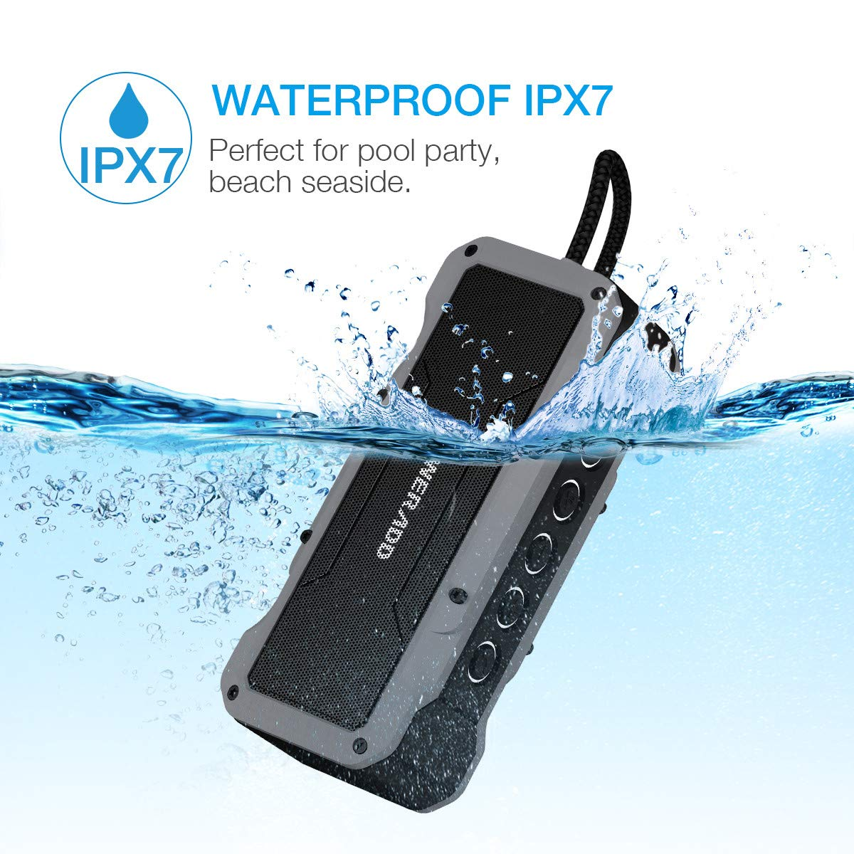 Poweradd Bluetooth Speaker, MusicFly 36W 24 Hours 4000mAh with 4 Speakers(2X13W+ 2X5W), IPX7 Waterproof/Sandproof/ Shockproof, Built in Mic, USB Charging Port for Home,Outdoors,Travel