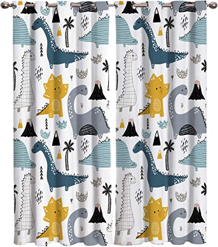 Window Curtains Cartoon Cute Dinosaur Digital Printed Thermal Insulated Window Drapes