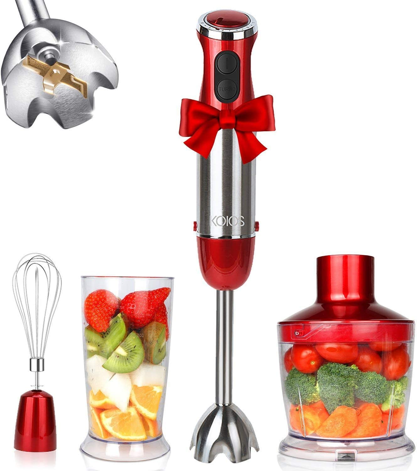 KOIOS Powerful 800W Immersion Blender 12-Speed Multi-Purpose 4-in-1 Hand Blender Includes Stick Blender, 500ml Food Processor, 600ml Mixing Beaker and Whisk, BPA-Free, Red (Renewed)