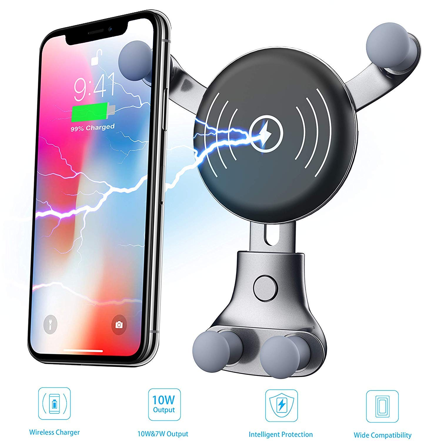 Car Charger 10W Compatible for Samsung Galaxy S9 72cari12 Air Vent Phone Holder 2019 Newest Wireless Car Kit
