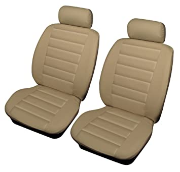 Fiat 500 Universal Size Beige Leather Look Front Car Seat Covers