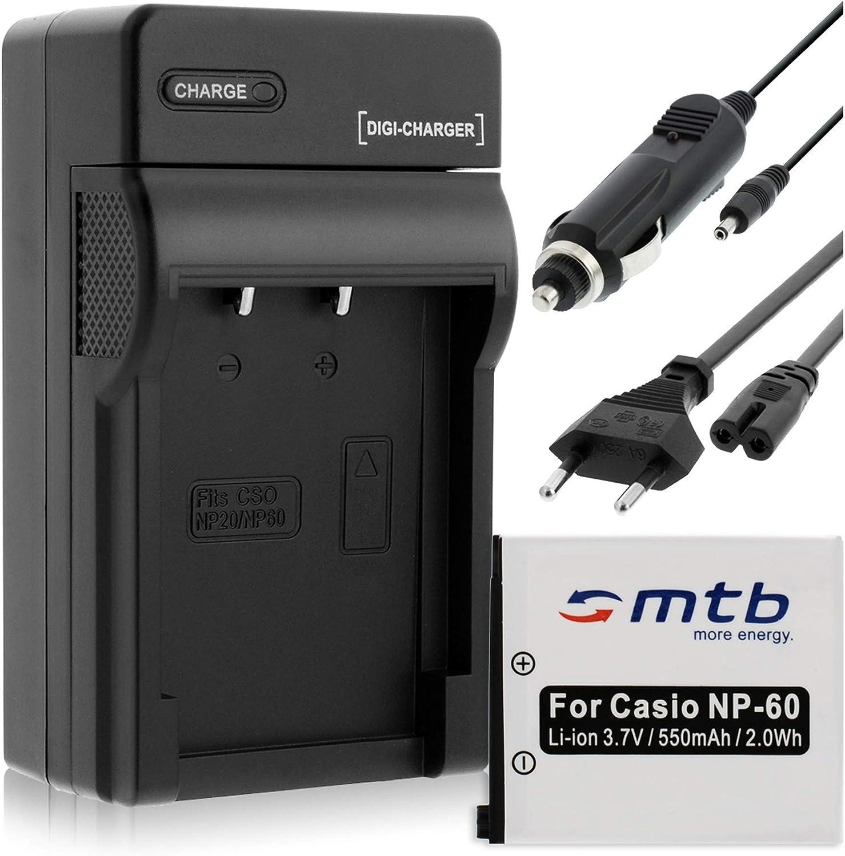 Batería + Cargador (Coche/Corriente) para Casio NP-60 / Exilim EX-FS10 S10 S12 Z22 Z25 Z29.Ver Lista!: Amazon.es: Electrónica