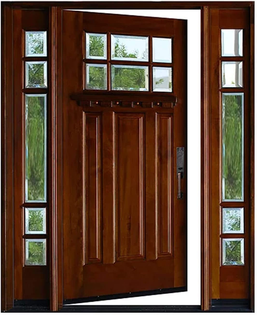 Single Door With 2 Sidelights Solid Wood Door Mahogany Entry Door With 6 Lite Beveled Glass 18 X36 X18 X80 Left Hand Amazon Com