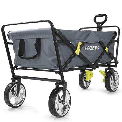 gris Roues optiques chrom/ées pivotantes /à 360/° avec freins de stationnement Chariot dune capacit/é de charge de 80 kg Hoberg Chariot de main pliable CLASSIC