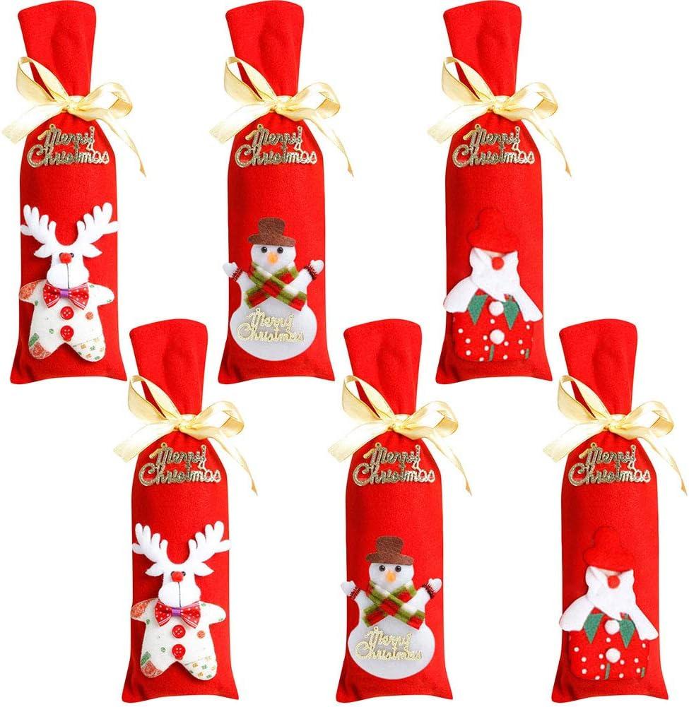 Yuson Girl Sacs Couverture de Bouteille Wrap de Vin No/ël Rouge Motif P/ère Renne Housses Pochette Bouteilles Vin Flanelle Decor Deco D/écoration de Table F/ête D/îner No/ël Xmas Christmas