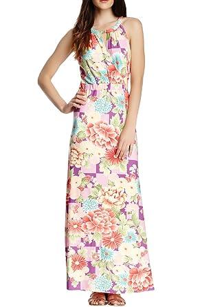 c3d91f704990c VERTIGO PARIS Women s Floral Print Halter Maxi Dress at Amazon Women s  Clothing store