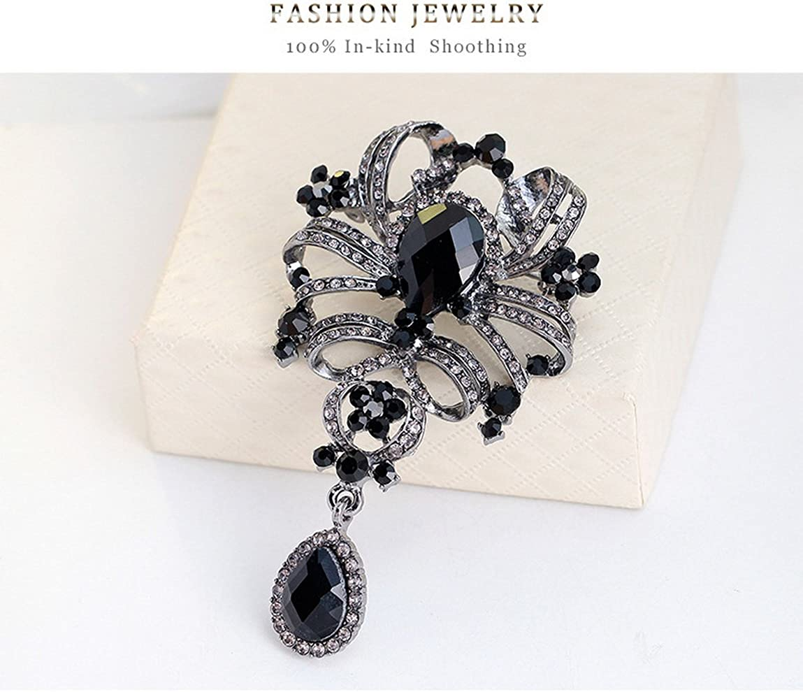YAZILIND Fashion Leaves Hollow Inlaid Rhinestones Alloy Zirconia Pendant Brooch Pin for Women Girls Accessories