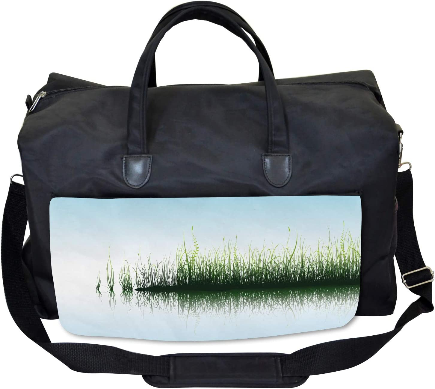 Large Weekender Carry-on Spring Time Sunset Lake Ambesonne Nature Gym Bag