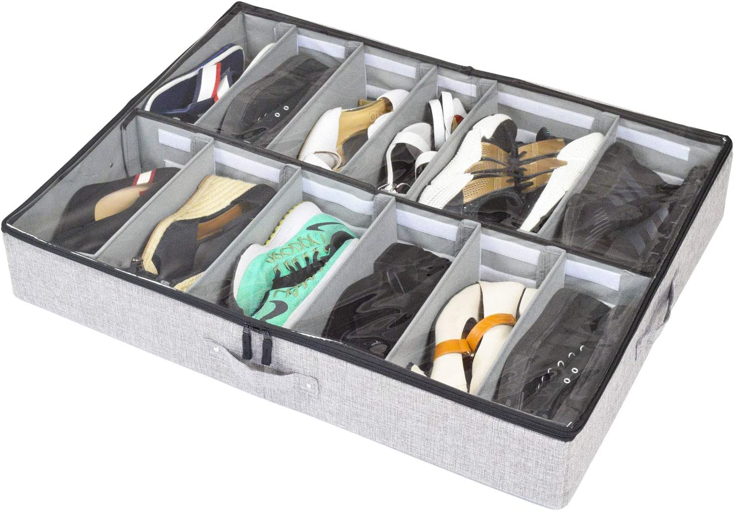 storageLAB Under Bed Shoe Storage Organizer, Adjustable Dividers - Fits Up to 12 Pairs - Underbed Storage Solution