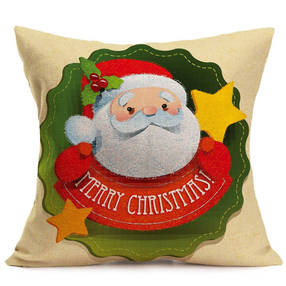 Merry Christmas Pgojuni Linen Pillowcase Decoration Accent Throw Pillow Cover Cushion Cover for Couch/Sofa 1pc 45X45 cm (E)