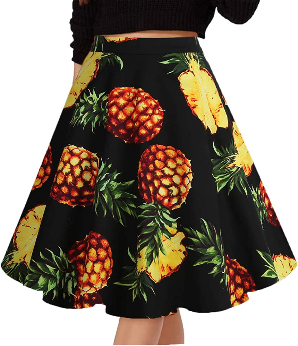Musever Women's Pleated Vintage Skirts Floral Print Casual Midi Skirt A-Black-Pineapple XXL