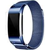 Fitbit Charge 2 Armband, OverDose Milanese Edelstahl Uhrenarmband-Bügel-Armband + HD Film für Fitbit Charge 2